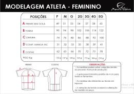 tabela de medidas atleta feminino
